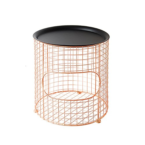 C-J-Xin ijzeren salontafel opbergmand met deksel kleine salontafel nachtkastje multifunctionele opbergmand grote snackkorf meerdere kleuren | 30-35cm ruimte besparen
