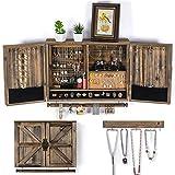 Organizador de joyas para colgar en la pared rústico | Soporte de joyería de...