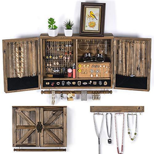 Organisateur de bijoux à suspendre rustique | Porte-bijoux mural en maille | Support mural en bois pour colliers, bracelets, boucles d'oreilles, porte-bague, accessoires | Boîte à bijoux suspendue