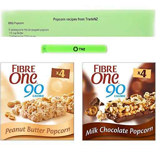 Fibre one Popcorn Bars, Milk Chocolate and Peanut Butter 2 x Boxes of 4 Bars with Exclusive Popcorn Recipe Sheet And 1 Sealing Bag Clip