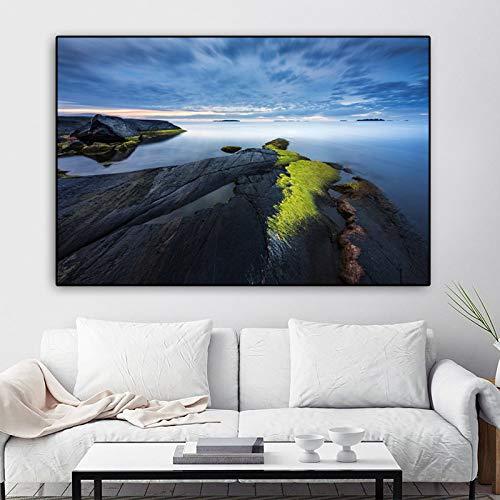Poster Wandkunst Leinwand Malerei Landschaft drucken Ocean Rock Cloud Wandbilder für Wohnzimmer Dekoration ungerahmt