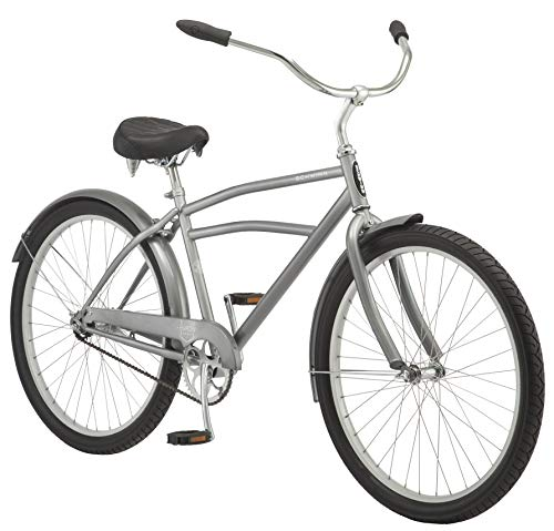 Schwinn Huron Adult Beach Cruiser Bike, Featuring 17-Inch/Medium Steel Step-Over Frames, 1-Speed Drivetrains, Grey