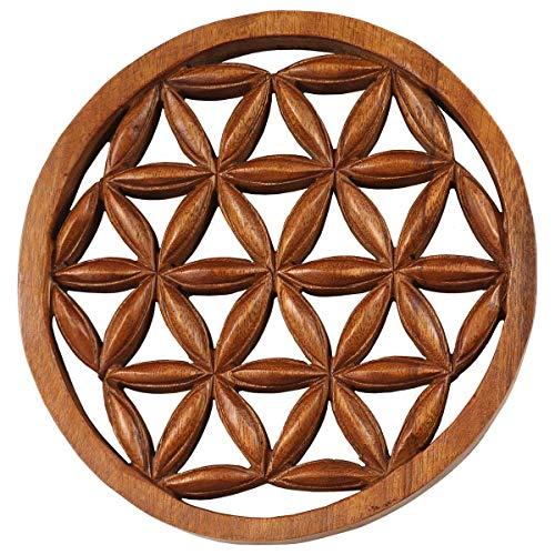 mantiburi - Cuadro decorativo (madera, 20 cm), diseño de flor de loto