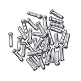 Bike Cable End Caps, Alloy Cable End Crimps, Bike Brake Cable End Tips for Road Mountain Bicycle, Silver, Pack of 100