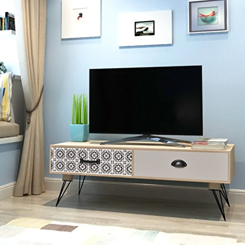 Festnight TV Cabinet Solid Wood TV Stand Unit with 2 Drawers for Home Living Room 150 x 46.5 x 48.5 cm White