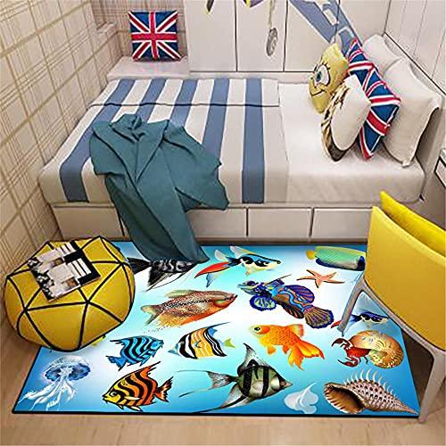 RUGMRZ Tapis Salon Poil Ras Scène Mondiale sousairy Enfant Big Tapis-160x200cm $ Moquette Chambre Doux Tapis d'Entree 160X200CM/5ft 3