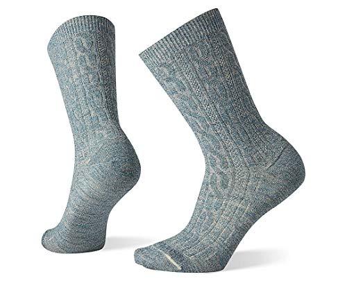 Smartwool Women's Cable Crew Merino Wool Socks, Dark Prussian Blue-Moonbeam Marl, Small