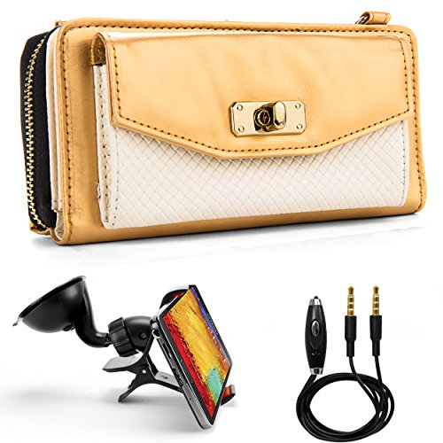 Venice Wallet Clutch Bag Carrying Case for Huawei Valiant Y301 A1, 4Afrika, Premia 4G Smartphones and Auxiliary Cable and Windshield Car Mount