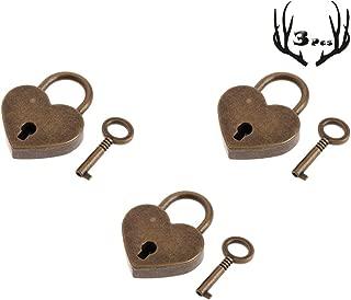 3Pcs Mini Bronze Antique Padlock Small Metal Heart Shaped Padlock Archaize Style Heart Shaped Lock Mini Lock with Key