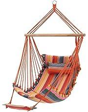 SONGMICS hangstoel met kussen en voetsteun, XL gewatteerde schommelstoel, 70 x 120 cm, belastbaar tot 200 kg, binnen en buiten, regenboogkleurig GDC46C