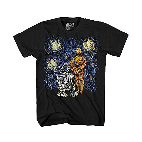 Star Wars T Shirt Men's Starry Night Droid R2-D2 C-3PO Men's Graphic...