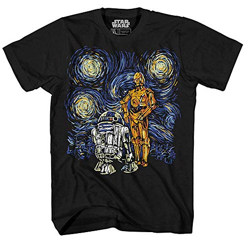 Star Wars C-3PO R2-D2 C3PO R2D2 Funny Van Gogh Starry Night Droids Painting Force