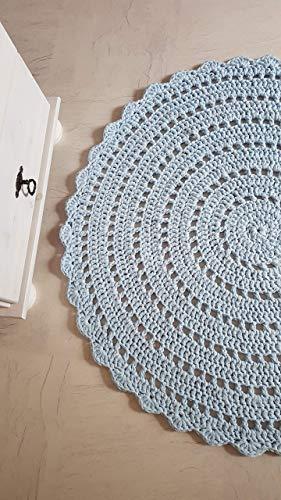 Teppich Häkelteppich rund Kinderteppich Kinderzimmer zartblau Mandala 89 cm
