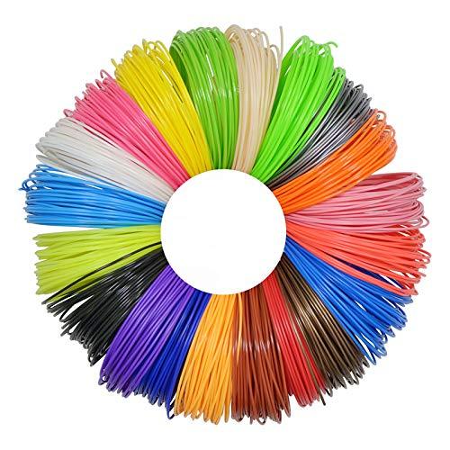3D-Stift-Filament, Nachfüllpackung, PLA, 20 Farben, 10 m pro Farbe, hochwertiges 3D-Druckstift, Filament für 3D-Drucker, für die meisten intelligenten 3D-Stifte