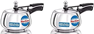 Hawkins Stainless Steel Contura Pressure Cooker 2 and 3 litres, Pack of 2