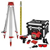 VEVOR Rotating Laser Level with Tripod and Sight, Measuring Range 500 m Rotating Laser Kit with Tripod and Sight, 360 ° Self-Leveling Laser Level, 165 cm Open 104 cm Closed Telescopic Tripod, 5 m Sight