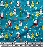 Soimoi Blau Samt Stoff Schneemann, Santa & Baum Weihnachten