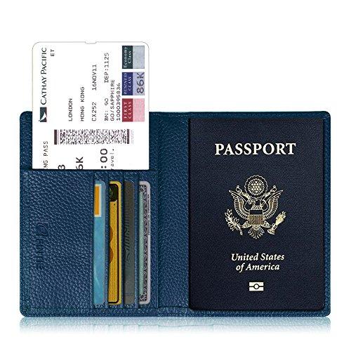Fintie Reisepass Schutzhülle - Premium Kunstleder Reisepasshülle Halter mit RFID Blockier für Kreditkarten, Ausweis und Reisedokumente, Marineblau