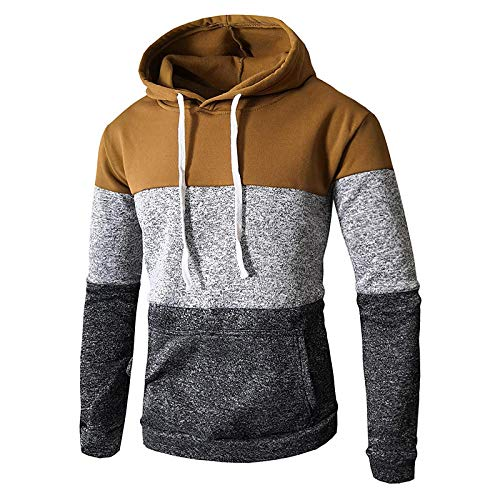 WJPL Modischer Pullover mit Kapuze für Herren und Sportsweatshirt Unisex Sweatshirt mit Sweatshirt Herren Sweatshirt Langarm Reißverschluss warm im Winter lyl-157, Beige Large