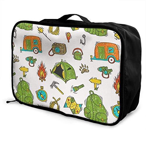 Qurbet Bolsas de Viaje, Travel Luggage Trolley Bag Portable Lightweight Suitcases Duffle Tote Bag Handbag, Camping Gear Elements Pattern