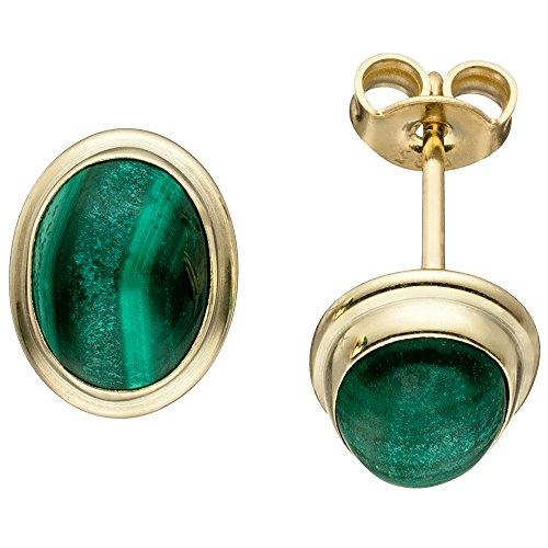 Ohrstecker Ohrringe Ohrschmuck ovale Malachite grün 585 Gold Gelbgold Damen