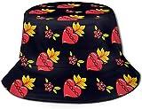 Sombrero de Cubo de Viaje con Estampado de Chica Hermosa de Pelo Largo Unisex, Gorra de Pescador de Verano, Sombrero para el Sol, Flores de Amor, Fresas
