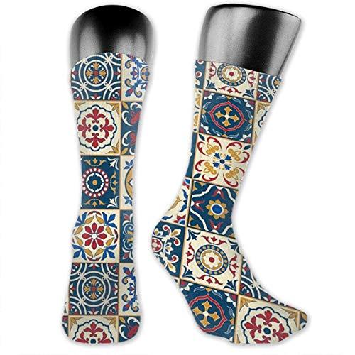 Lsjuee Unisex Socken Mittellange Socken für Neuheiten Funky Marokkanische Fliesen Muster Socken Komfortable Casual Tube Socken, 3,15 15,75 Zoll