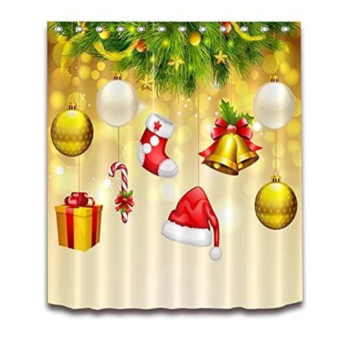 Casarse Navidad Calcetín Colgante Sombrero Bola Regalo Baño Cortina de Ducha Impermeable Poliéster 12 Ganchos Juegos de Accesorios de baño