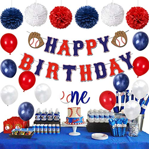 KeaParty Baseball Birthday Party Decorations Supplies Kit, Baseball Happy Birthday Banner, One Cake Topper, Baseball Themed Balloons, Pom Poms for Baseball First Birthday Party Decor