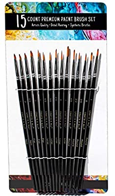 Crafts 4 All Paint Brushes Set Professional Fine Round Pointed Nylon Artist Brush Tips for Acrylic Watercolor and Oil Painting Fine Tip- Set of 15