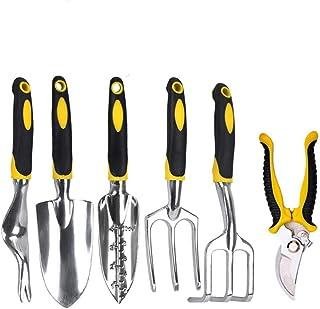 Gardening Tool, Set of 6 Pieces Set Tool Tools Aluminum Garden Utensil with Secateur, Trowel Shovels, Transplant, Hand Rake