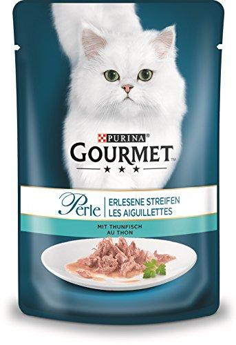 PURINA GOURMET Perle Erlesene Streifen Katzenfutter nass, mit Thunfisch, 24er Pack (24 x 85g)