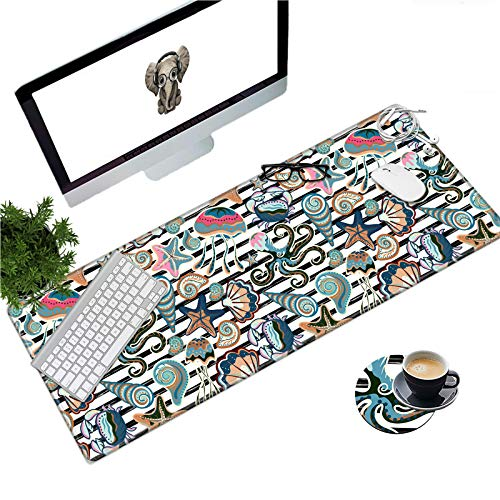 Large Gaming Mouse Pad with Stitched Edges, Desk Pad Protector, Computer Keyboard Mouse Mat Non-Slip Cute Desk Decor for Home/Office/Study Accessories+ Coaster and Stickers, Conch Starfish