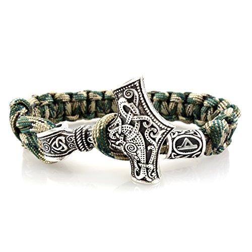 Armband Thor\'s Hammer Futhark Rune - 25 cm Camouflage / Silber (Thurisaz - Riese / Dorn)