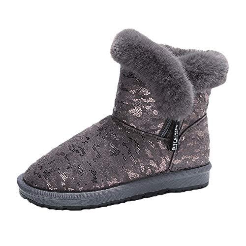 Jaysis Frauen Baumwollschuhe, Casual Runde Kappe Brot Warm Schnee Stiefel Leopard Print EU 36-49
