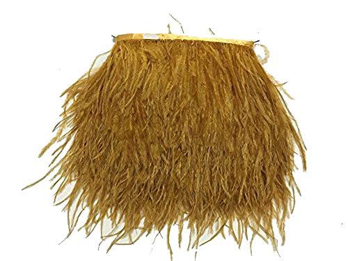 ADAMAI Natürliche Straußenfedern, Fransen, DIY, Kleid, Nähen, Basteln, Kostüme, Dekoration, Packung mit 1,8 m (Gold)