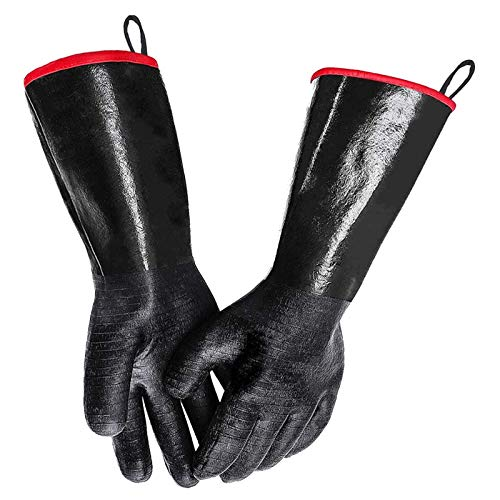 Artvan BBQ Gloves 18 Inches,Heat Resistant-Smoker, Grill, Cooking Barbecue Gloves, for Handling Heat Food Right on Your Fryer,Grill,Oven. Waterproof, Fireproof, Oil Resistant Neoprene Coating (18)