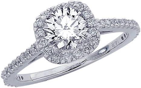 0.8 Carat 14K White Gold Gorgeous Classic Cushion Halo Style Diamond Engagement Ring with a 0.45 Carat J-K I2 Center