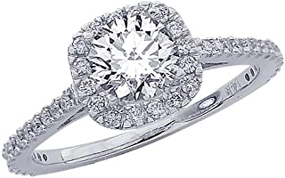 1.85 Carat 14K White Gold Gorgeous Classic Cushion Halo Style Diamond Engagement Ring with a 1.5 Carat J-K SI2-I1 Center