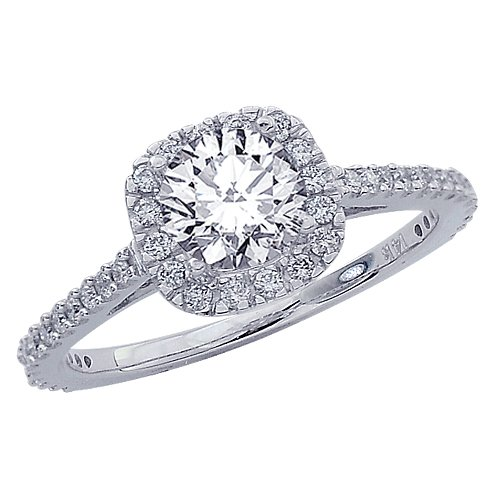 0.8 Carat Gorgeous Classic Cushion Halo Style Diamond Engagement Ring 14K White Gold with a 0.45 Carat J-K I2 Round Brilliant Cut/Shape Center