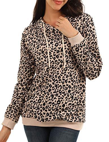 BMJL Damen Langarm T-Shirt Leopard Print Top Pullover Hoodie Winter Pullover mit Kanga Pocket Top (S=EU 34-36, Leopard 02)