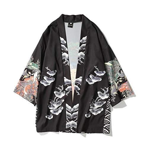 Camisa Japonesa del Traje De Hanfu Manga Kimono Masculino Medio Siete Manga Zzib (Color : Black, Size : L)