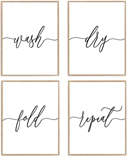 Set of 4 Laundry Sign Print, Wash Dry Fold Repeat Poster, Modern Calligraphy Quote Art 8x10 Unframed