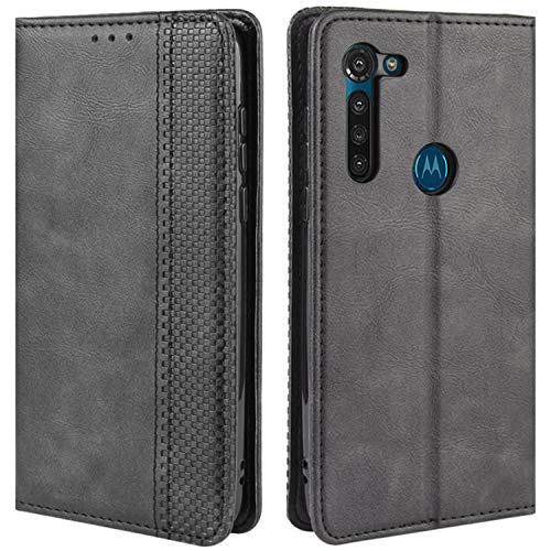 HualuBro Handyhülle für Motorola Moto G8 Power Hülle, Retro Leder Stoßfest Klapphülle Schutzhülle Handytasche LederHülle Flip Hülle Cover für Motorola Moto G8 Power Tasche, Schwarz