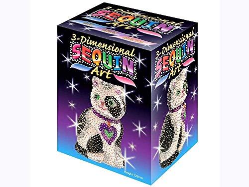 MAMMUT 8100501 - 3D Sequin Art Paillettenfigur Katze, Steckform, Bastelset mit Styropor-Figur, Pailletten, Steckstiften, Perlen und Anleitung, für Kinder ab 8 Jahre