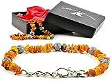 AmberPetCare Bernsteinkette für Hunde und Katzen mit Metallverschluss aus Roh Baltischer Bernstein (40-45)