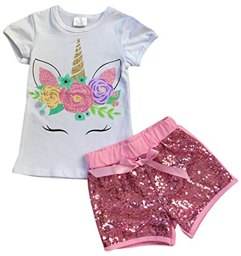 Little Girls 2 Pieces Short Set Unicorn Floral Tops Glitter Shorts Outfit 2T-8 3
