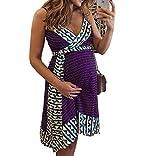Arbres Umstandskleid Sommer Trägerkleid Spaghetti Schwangerschaftskleid Stillkleid (Lila, XXXL(EU 44))