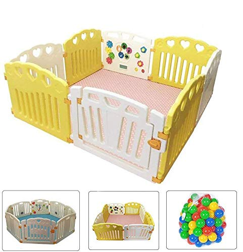 STAR iBaby Play met Me Baby Park XXL + tapijt bicolor + 200 ballen set + zachte vloermat puzzel - isolerend, wit/geel