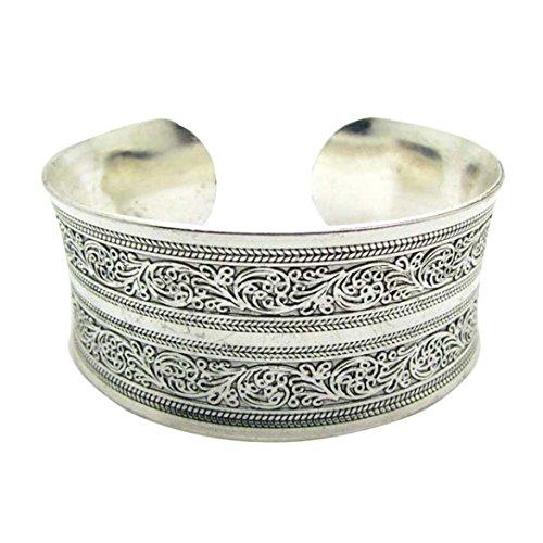 HCFKJ Tibetische Tibet Totem Armreif Schmuck Retro-Manschette breite Armband Armreif (Silber) (A)